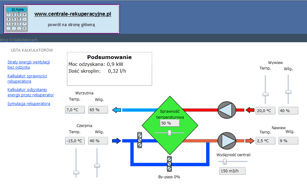 Obliczenia wentylacji mechanicznej z odzyskiem ciepła - kalkulator online do obliczeń parametrów powietrza